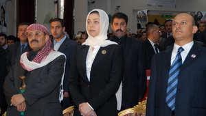 رغد، ابنة الرئيس العراقي السابق صدام حسين، خلال مشاركتها في مناسبة تكريمية لذكرى والدها