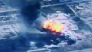 من صور بثها التلفزيون الأردني لغارات الطيران على أهداف لداعش 5 فبراير/ شباط 2015