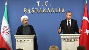 الرئيس الإيراني ورئيس الوزراء التركي في مؤتمر صحفي بأنقرة