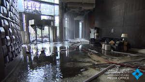 بالفيديو.. لقطات من داخل فندق العنوان بعد الحريق.. وقائد شرطة دبي: التعامل مع الحادثة تم بحرفية عالية
