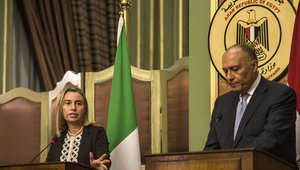 وزير الخارجية المصري أثناء المؤتمر الصحفي المشترك مع نظيرته الإيطالية