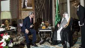 صورة لأخر لقاء لكيري بالعاهل السعودي مطلع العام الجاري