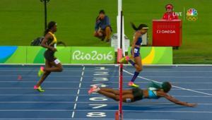 عداءة الألعاب الأولمبية هذه فازت بالسباق من خلال سقوطها على خط النهاية!