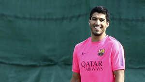لويس سواريز في أول تدريباته مع برشلونة
