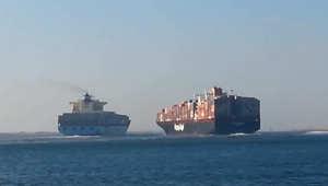 بالفيديو.. تصادم بين سفينتي حاويات يوقف حركة الملاحة بقناة السويس