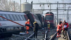 تصادم بين قطارين في شمال سويسرا وأنباء عن سقوط عشرات الجرحى