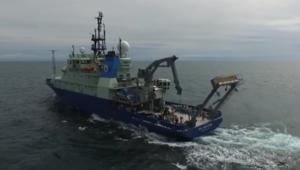 سفينة مسماة تيمنا بمستكشف القمر تستعرض في بحر نيويورك