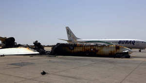 الدمار الذي أوقعته المواجهات بمطار طرابلس