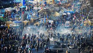 جانب من المظاهرات المناهضة للحكومة في كييف بأوكرانيا