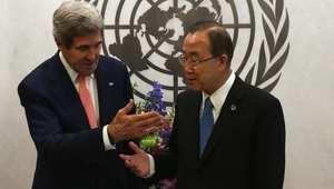 جون كيري وبان كي مون في لقاء بالأمم المتحدة 25 يوليو/ تموز 2014