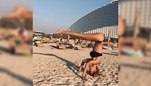 بالصور.. هذا ما فعلته النجمة الروسية 'فيكتوريا بونيا' على شواطئ دبي