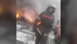 المشاهد الأولى بعد تحطم طائرة شحن تركية في قرغيزستان