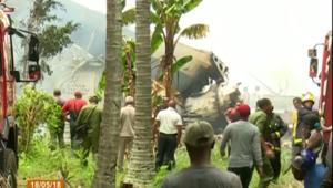 شاهد.. اللحظات الأولى بعد تحطم الطائرة الكوبية