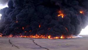 حريق بإحدى أنابيب النفط بعد مهاجمته