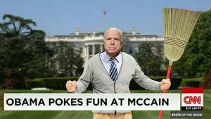 """جون ماكين يرد على """"مزحة"""" أوباما.. وتصويره بحديقة البيت الأبيض حاملا """"مقشة"""""""