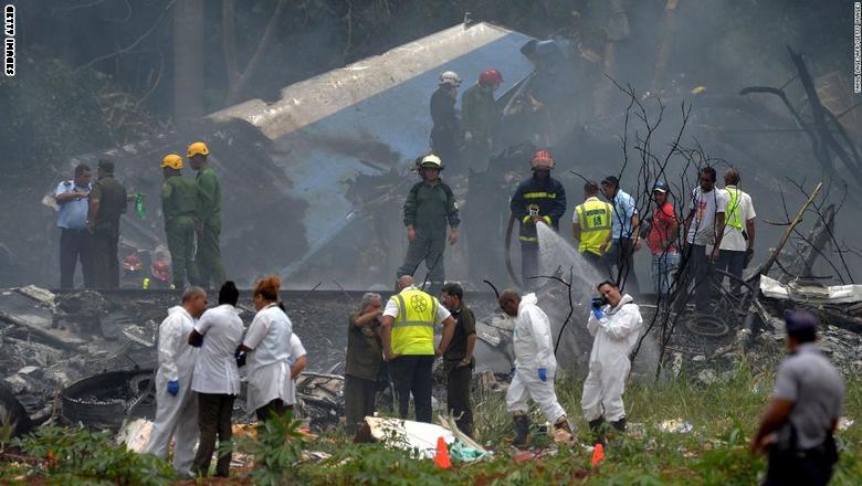 شاهد.. اللحظات الأولى لتحطم طائرة ركاب في كوبا