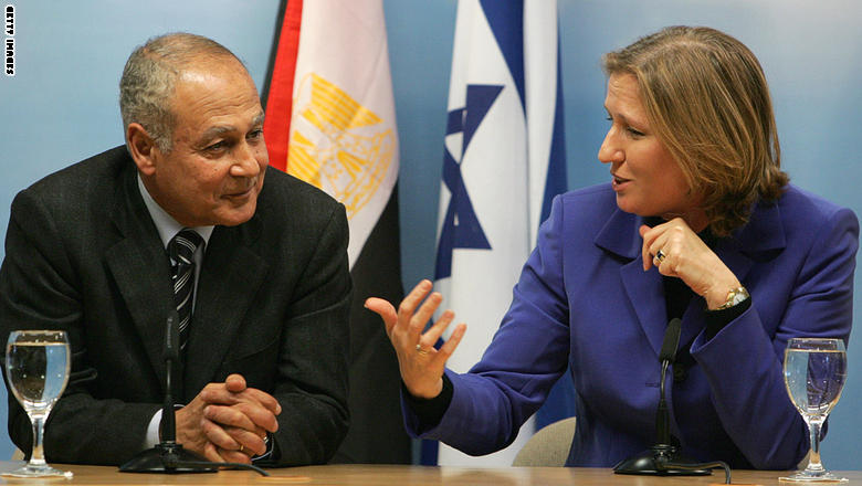 """بالصور: """"ابتسامات ليفني"""" تلاحق أبوالغيط بعد اختياره لقيادة الجامعة العربية"""