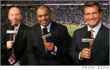 The new ESPN crew at Monday Night Football probably won't have a fraction of the paychecks of their ABC predecessors, but they'll likely hang onto a significant share of their audience.