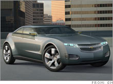GM's Volt concept car, which highlights the company's effort to develop a plug-in hybrid.