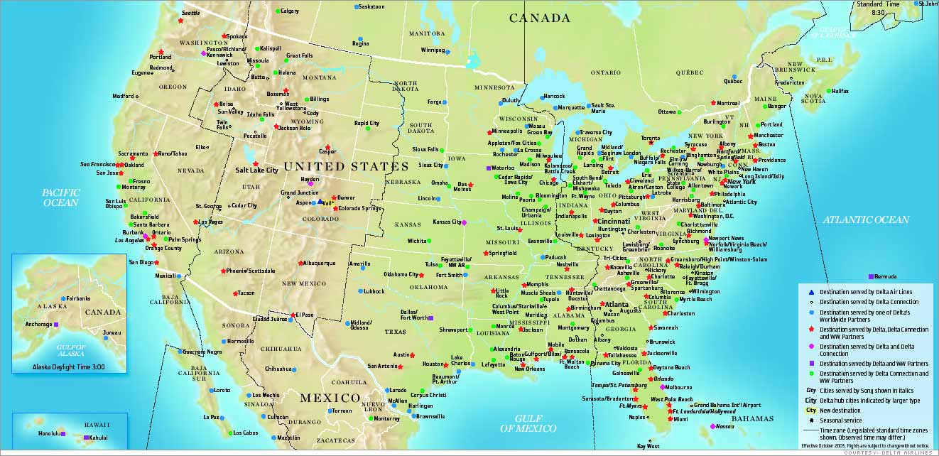 cnn/money: delta airlines route map
