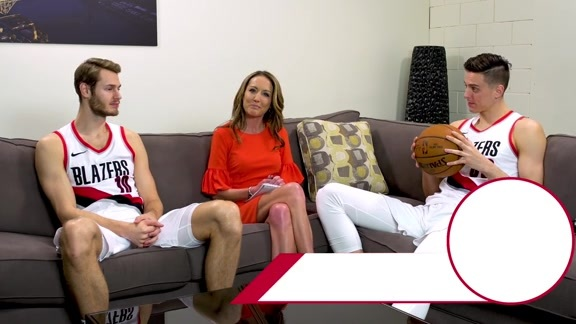 Zach Collins and Jake Layman Pass The Ball with Brooke Olzendam