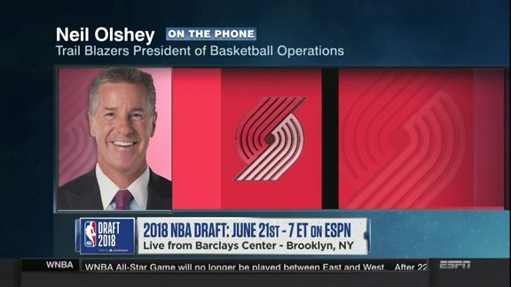 VIDEO: Neil Olshey On ESPN's 'NBA Draft: On The Clock'