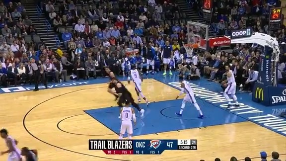 Jusuf Nurkic (22 points, 15 rebounds) vs. Oklahoma City Thunder