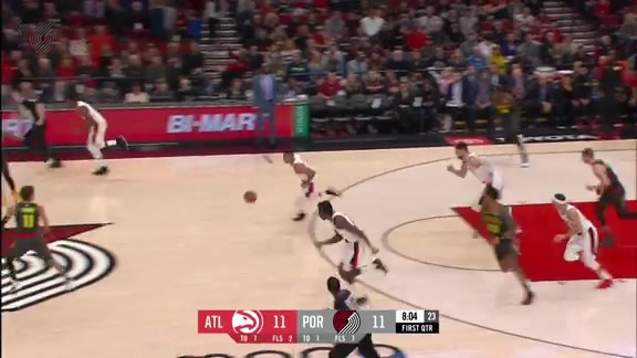 McCollum with a sleight-of-hand pass to Aminu