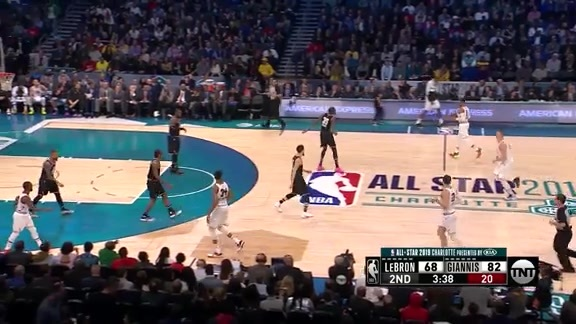 Damian Lillard sinks the three pointer in the All-Star Game