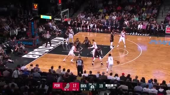 Enes Kanter scores his first points as a Trail Blazer