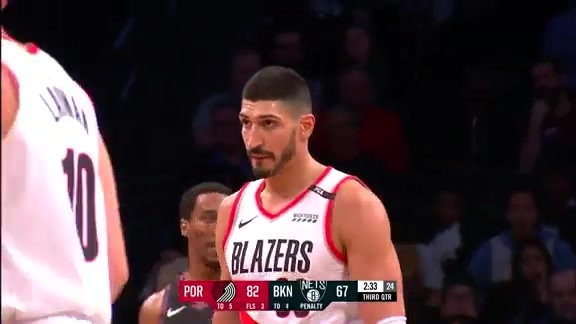 Enes Kanter with 18 Points in the Game vs. Brooklyn Nets