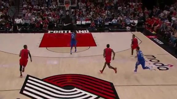 Dame picks the pocket and finds Hood for the dunk