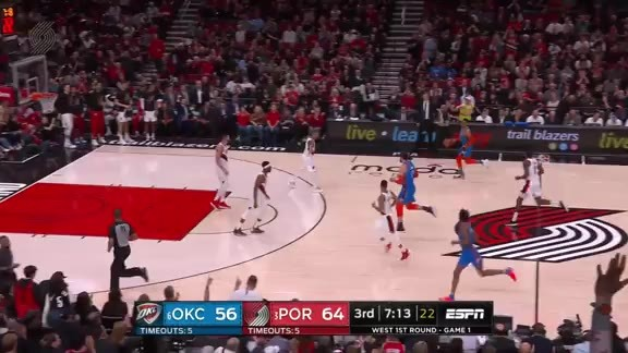 Aminu flies in for the putback dunk
