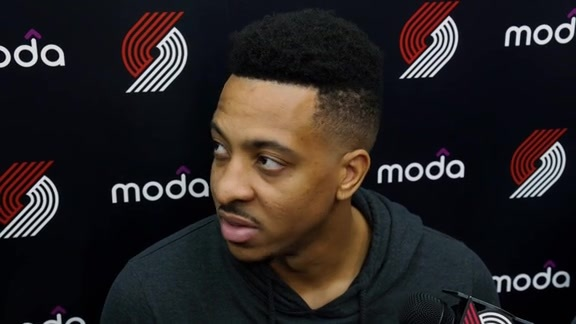 CJ McCollum Speaks to the Media