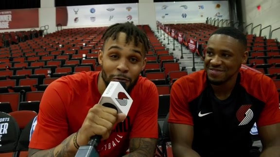Gary Trent Jr. interviews Demetrius Jackson after Blazers beat Bucks in Summer League