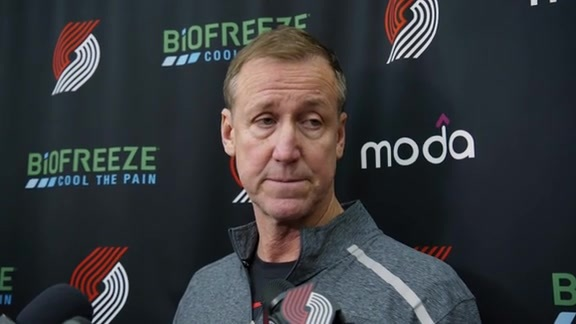 Terry Stotts speaks to media at practice on Monday