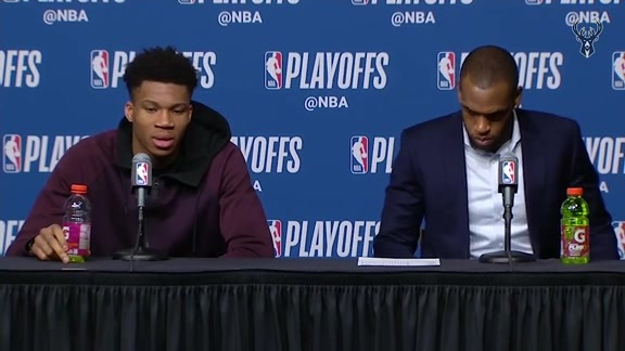 Giannis Antetokounmpo and Khris Middleton Postgame | 4.17.18