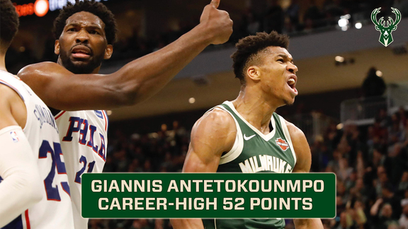 Giannis Antetokounmpo Scores Career High 52 Points