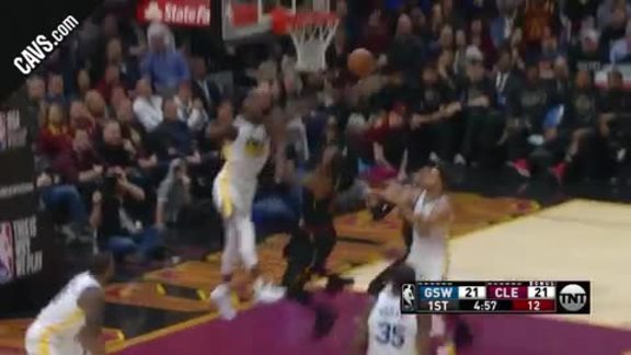 LBJ Spins Past Defender for Bucket