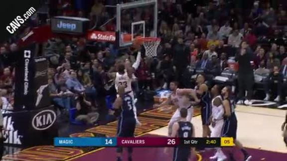 LBJ Earns And-One after Snagging Perfect Pass
