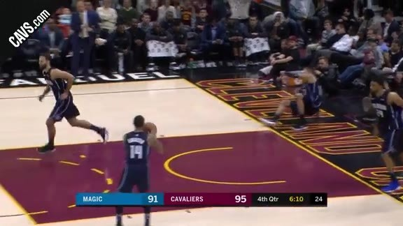 LBJ Muscles His Way to the Basket