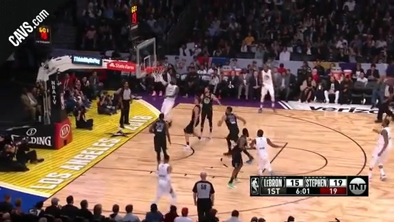 LBJ Blows Past the Defense for Two