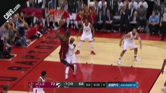 LBJ Muscles Home the Bucket
