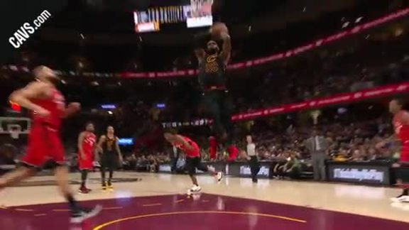 James Lays Down Monster Two-Handed Dunk