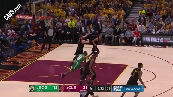KLove Tosses Long Pass to LBJ