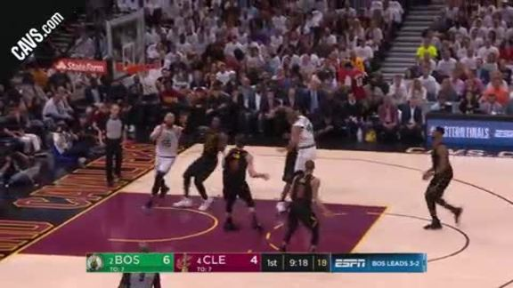 LBJ Gets a Hand in Front