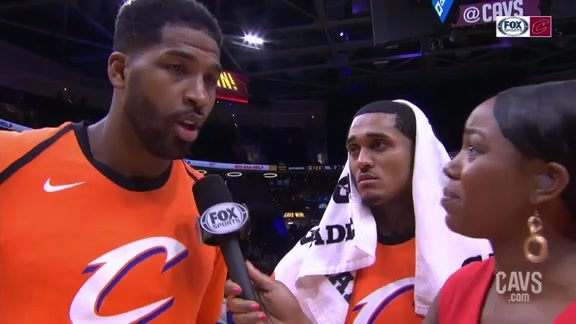 #CavsHornets On-Court Postgame: Tristan Thompson and Jordan Clarkson
