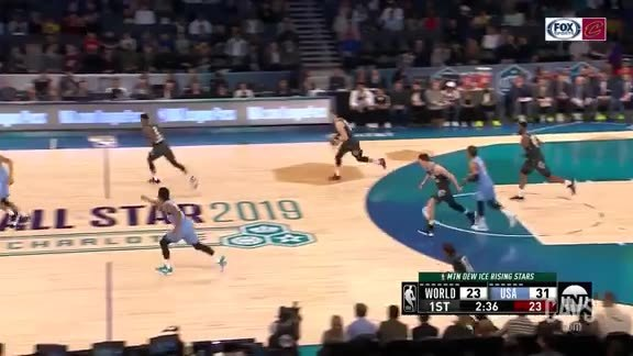 Cedi Osman Tosses a Long Assist to OG Anunoby in the Rising Stars Challenge