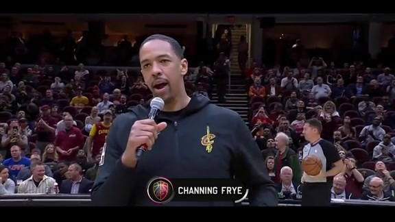 Channing Frye Addresses the Crowd Prior to His Final Game