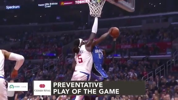 Cedars-Sinai Preventative Play of the Game | Clippers vs. Magic (1.6.19)
